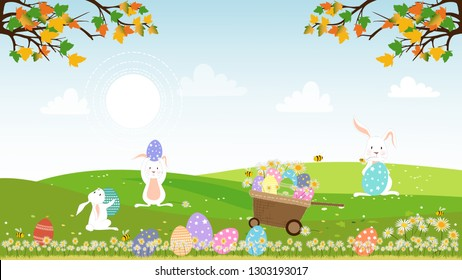 Panorama landscape of spring field with bunny hunting Easter eggs,Vector illustration holiday background, Cute cartoon rabbits playing on grass field with honey bees honey bees collecting pollen