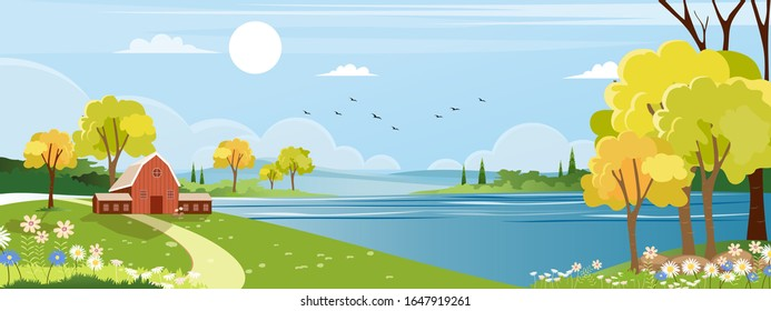 Panorama landscape of spring village with green meadow on hills with blue sky, Vector Summer or Spring landscape, Panoramic countryside of green field with farmhouse, barn and grass flowers