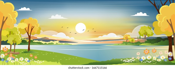 Panorama landscape of spring village with green meadow on hills with blue and orange sky, Vector Summer or Spring landscape, Panoramic countryside by the lake with sunset in evening.