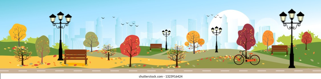 Panorama landscape summer in city public park with bike, bench and colourful trees, Cityscape background, Panoramic Urban landscape of summer or spring in the city with blurry building background