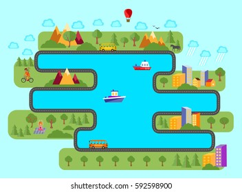 Panorama. Landscape. Summer vacation outside the city. Animation. Vector illustration.