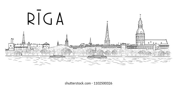 Panorama of the main sights of Riga, view of the embankment from the river. Latvia. Vector illustration.