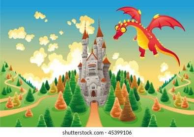 Panorama with medieval castle and dragon. Cartoon and vector illustration, isolated objects