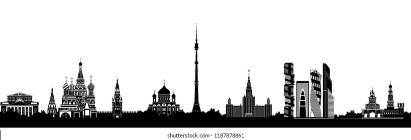Panorama of Moscow flat style vector illustration. Moscow architecture. Cartoon Russia symbols and objects. Monochrome silhouette of Moscow