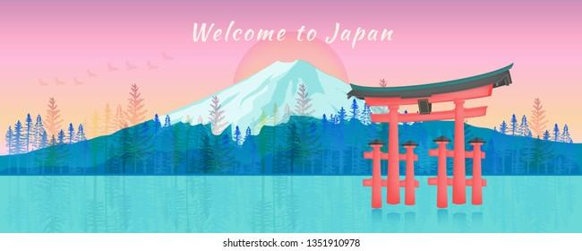Panorama Mount Fuji and Japan Gate Landmark Postcard in Neon Color Style Illustration Vector