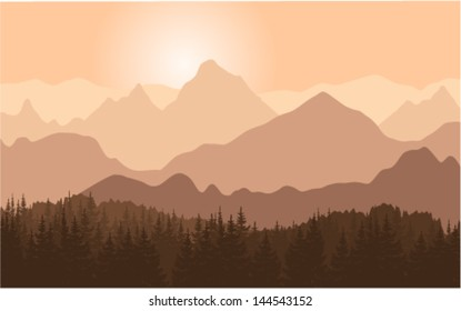 Panorama of mountain ridges. Vector illustration