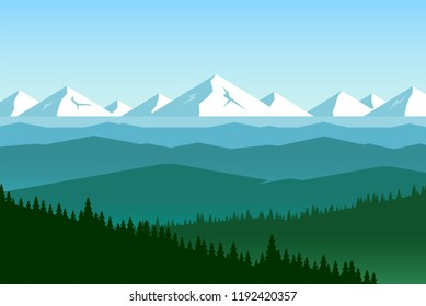 Panorama of mountain valley. Landscape with view of hilly area. Far away icy peaks