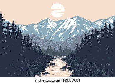 Panorama of Mountains, Evergreen Trees, Landscape Background, hand drawn line style with digital color, vector illustration
