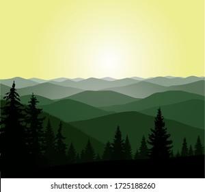 Panorama of mountains. Pine trees.