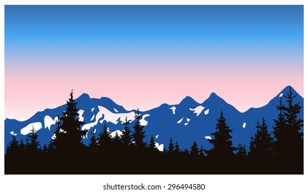 Panorama of mountains. Silhouette of mountains with snow and coniferous trees on the background of colorful sky. Can be used as banner of mineral water.