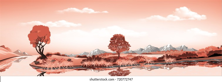 Panorama of nature-the island in the lake, volcano, mountains, rivers and hills with trees. Vector illustration in red