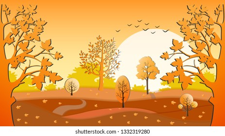 Panorama paper art of Autumn forest landscape, illustration paper cut with horizontal banner of Autumn landscape mountains and trees with leaves falling in orange and yellow foliage.