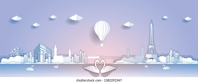 Panorama paper art style vector of Famous Landmarks France for Travel banner or postcard illustration
