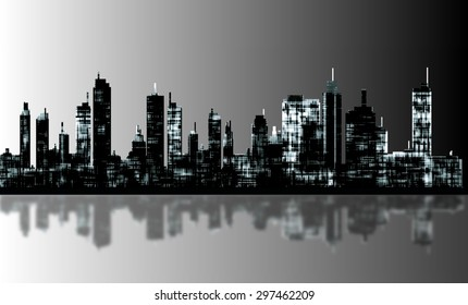 A panorama picture of city skyline