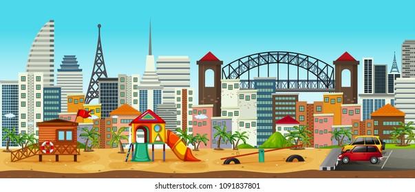 Panorama of Playground in Urban Area illustration