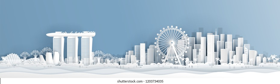 Panorama postcard of Singapore with world famous landmarks  in paper cut style vector illustration