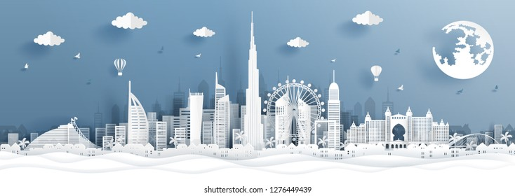 Panorama postcard and travel poster with travel to Dubai concept with skyline and famous landmark in paper cut style vector illustration