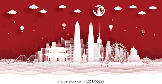 Panorama postcard and travel poster of world famous landmarks of South Korea in paper cut style vector illustration
