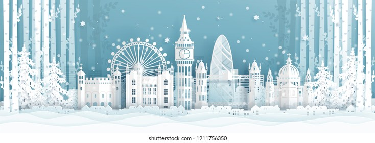 Panorama postcard and travel poster of world famous landmarks of London ,England in winter season in paper cut style vector illustration