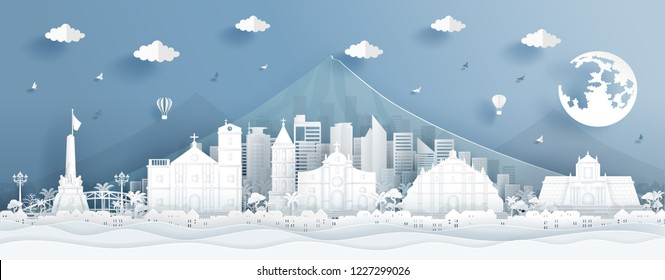 Panorama postcard and travel poster of world famous landmarks of Phillippines in paper cut style vector illustration