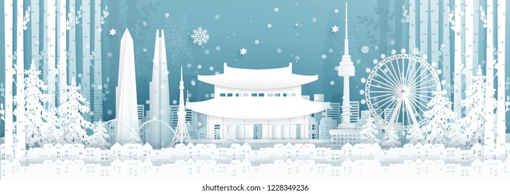 Panorama postcard and travel poster of world famous landmarks of Seoul, South Korea in winter season in paper cut style vector illustration