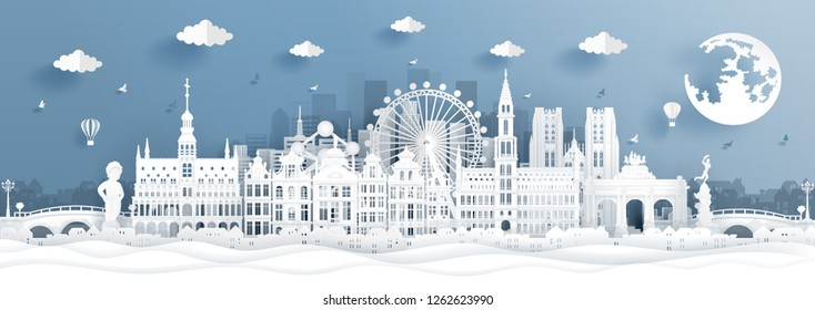 Panorama postcard and travel poster of world famous landmarks of Belgium in paper cut style vector illustration