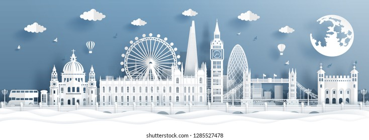 Panorama postcard and travel poster of world famous landmarks of London, England in paper cut style vector illustration