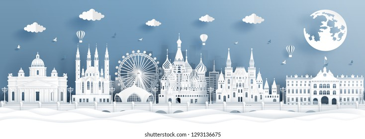 Panorama postcard and travel poster of world famous landmarks of Moscow, Russia in paper cut style vector illustration