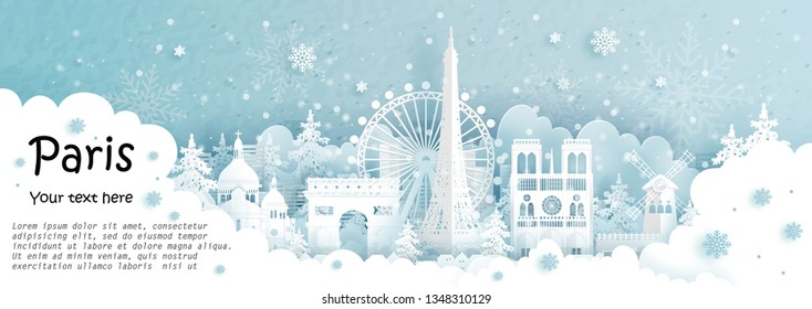 Panorama postcard and travel poster of world famous landmarks of Paris, France in winter season in paper cut style vector illustration