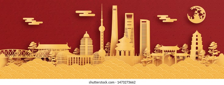 Panorama postcard and travel poster of world famous landmarks of Shanghai, China in paper cut style vector illustration