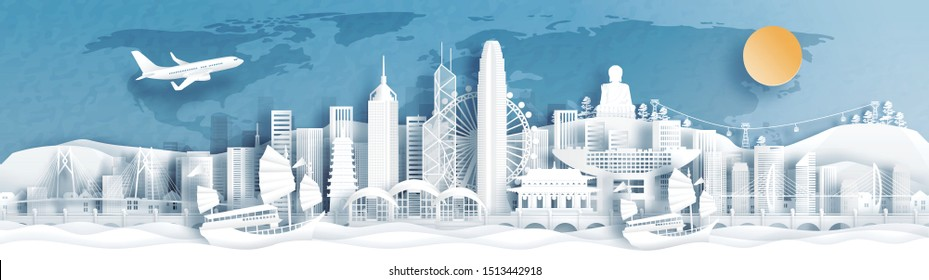 Panorama postcard and travel poster of world famous landmarks of Hong Kong, China in paper cut style vector illustration