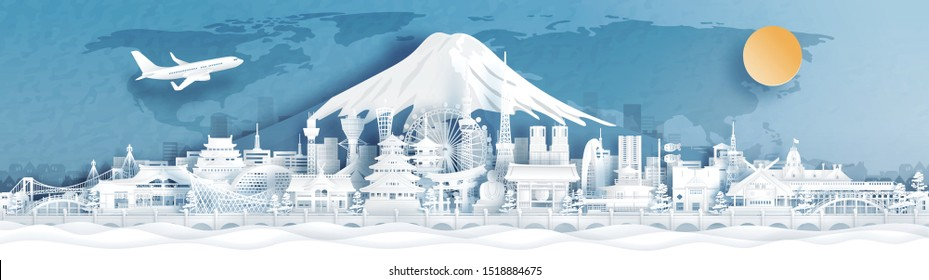 Panorama postcard and travel poster of world famous landmarks of Japan with Fuji mountain in paper cut style vector illustration