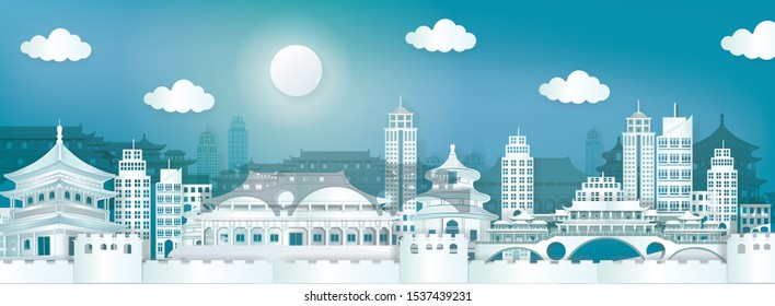 Panorama postcard and travel poster of world famous landmarks of China skyline with flag concept in paper cut style vector illustration