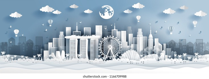 Panorama postcard of world famous landmarks of Singapore in paper cut style vector illustration