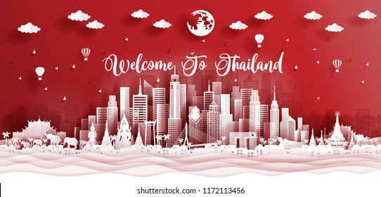 Panorama postcard of world famous landmarks of Thailand in paper cut style vector illustration