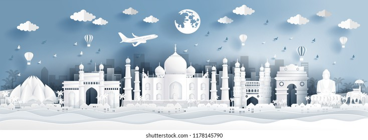 Panorama postcard of world famous landmarks of India in paper cut style vector illustration.