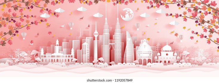 Panorama postcard of world famous landmarks of Malaysia with falling maple leaves in paper cut style vector illustration