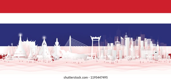 Panorama postcard of world famous landmarks of Thailand with Thai flag in paper cut style vector illustration
