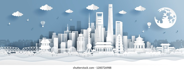 Panorama postcard of world famous landmarks of Shanghai, China in paper cut style vector illustration