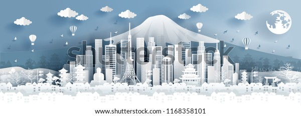 Panorama postcard of world famous landmarks of Tokyo city, Japan in paper cut style vector illustration