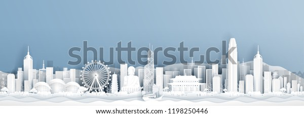 Panorama postcard of world famous landmarks of Hong Kong in paper cut style vector illustration