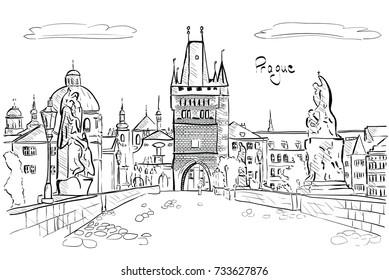 Panorama of Prague. View of Charles Bridge. Vector illustration.