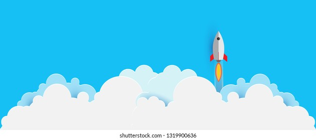 Panorama Rocket launch illustration flying over cloud. beautiful scenery with white clouds.vector illustration concept of business.