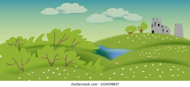 Panorama with with ruined castle and pond. EPS10 vector illustration.