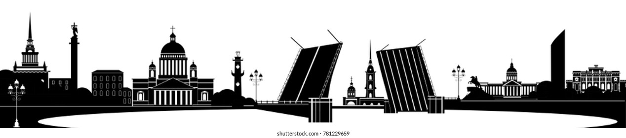 Panorama of Saint Petersburg flat style vector illustration. Petersburg architecture. Cartoon Russia symbols and objects. Monochrome silhouette of St. Petersburg