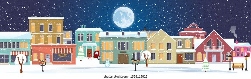 Panorama. Seamless border with winter cityscape. Snowy night in a cozy city. Winter Christmas Village NIGHT landscape.