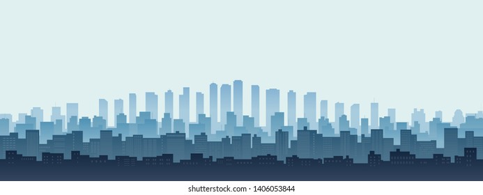 Panorama silhouette city skyline, Cityscape with office building in flat icon design and blue color background