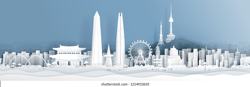 Panorama of South Korea with world famous landmarks in paper cut style vector illustration