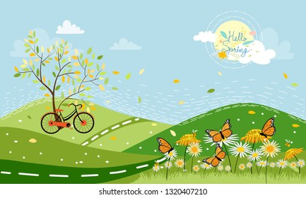 Panorama of Spring field with bike and spring flowers with family butterfly and bee flying,Cartoon spring landscape  mountain with honey Bee collecting pollen on flowers on sunny day,