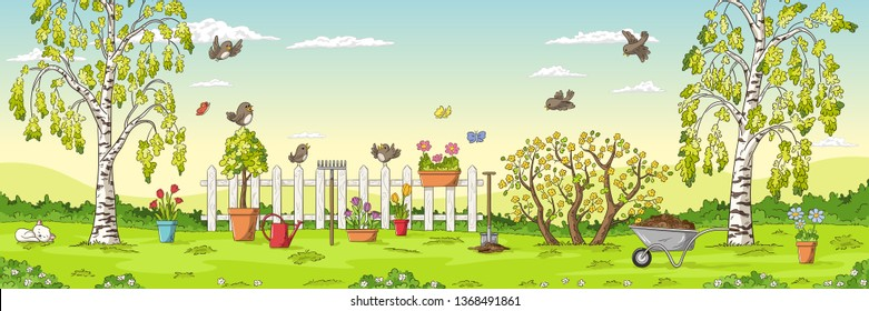 Panorama spring landscape with birds, flowers, trees and gardening tools.